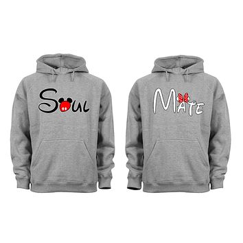 XtraFly Apparel Soul Mate Valentine's Matching Couples Hooded-Sweatshirt Pullover Hoodie