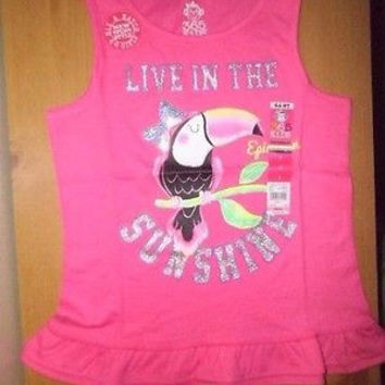 GIRLS 365 KIDS FROM GRANANIMAL GRAPHIC RUFFLE TANK SIZE 7;PINK;MULTI COLOR