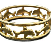 Six Dolphin Surround Hinged Bangle Bracelet Wide Gold Tone