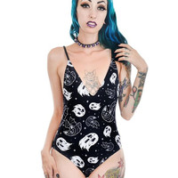 Halloween Vibes Bats & Ghosts Lenore One Piece Swimsuit by Too Fast Clothing