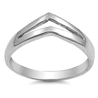 .925 Sterling Silver Double Chevron V Arrow Ladies Ring Size 4-10
