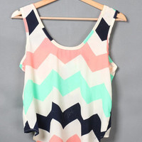 Zig Zag Print Sleeveless Crop Top