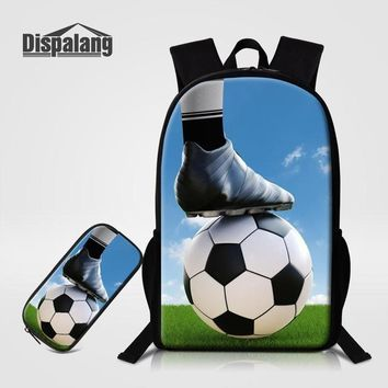 Cool Backpack school Cool Footballs School Bag Pencilbox 2 PCS Set For Primary Students Basketballs Soccers Boys Backpack Children Bookbags Pen Pouch AT_52_3