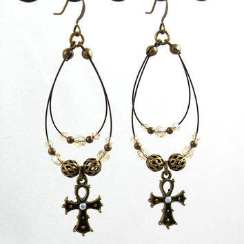 Antiqued Gold Ankh Earrings Double Hoops Beaded Jewelry