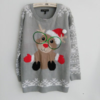 Adorable Rudolph the Red Nose Reindeer Wearing Christmas Hat Gloves and Glasses Ugly Christmas Sweaters for Women S-XL