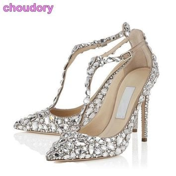 Bling Bling Crystal Women Wedding Shoes Pointed Toe Super Stilet da37af3f07fe