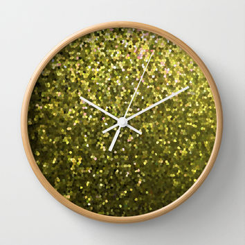 Mosaic Sparkley Texture Gold G188 Wall Clock by MedusArt