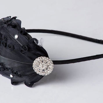 Flapper Girl Bridesmaid Black Vintage Style Feather Headband with Swarovski Crystals- Wedding Hair Piece, 1920s Woman