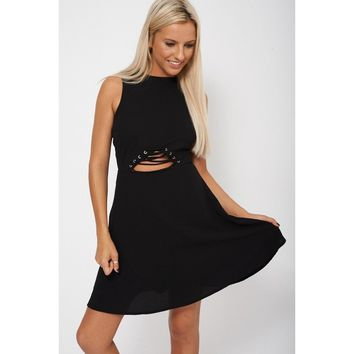 Black Skater Dress With Lace Up Front Detail