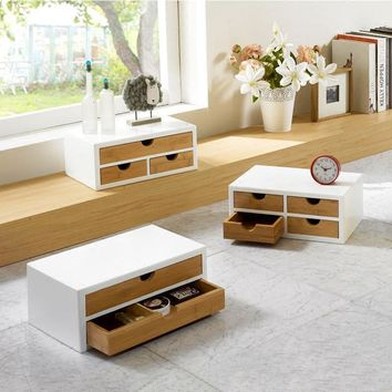 Simple wood furniture Drawer Desktop Storage Box Fashion office wooden storage box