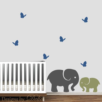Nursery Decor, Baby Elephant with Parent Elephant and Butterflies Wall Decals