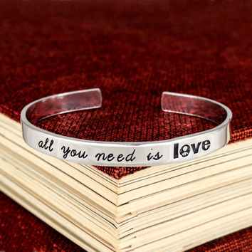All You Need is Love - 1UP Mushroom - NES - Video Games - Aluminum Bracelet