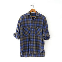 Vintage Plaid Flannel Shirt. Esprit Boyfriend Shirt. Oversized Button Up Shirt. Preppy Grunge Shirt. Purple & gray.