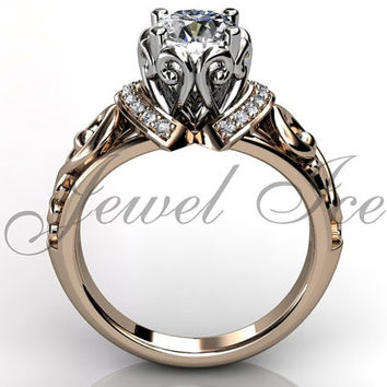 Engagement Ring - 14k Rose and White Gold Diamond Unique Art Deco Filigree Scroll Engagement Ring Wedding Ring Anniversary Ring ER-1124-6