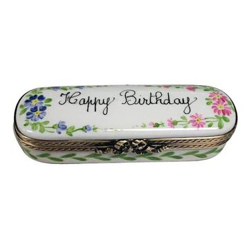Happy Birthday Cake  Limoges Porcelain Boxes