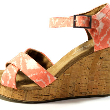 Toms Women's Strappy Wedge Orange Geometric Ikat Sandals Shoes