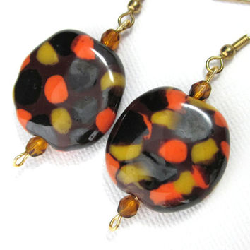 Spotted Brown, Orange, Black, Gold African Kazuri Trade Bead Earrings