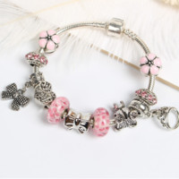 Bow Floral Rhinestone Pendant Bracelet Beaded Chain Glass Beads Bracelet