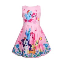 Kids Dresses For Girls My little Poli Children's Dresses Rainbow Dress Cute Pony Foal Princess Party Dress Unicorn Clothes 2018