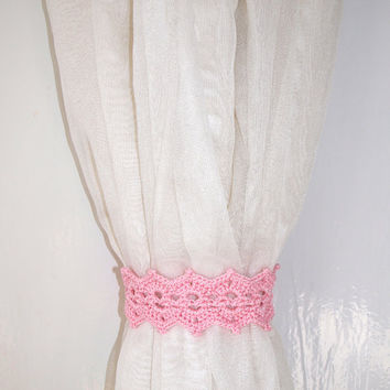 Pink curtain holdback Crochet curtain tie backs Rose curtain tiebacks Curtain holders Girls room decor Nursery decor pink home decor