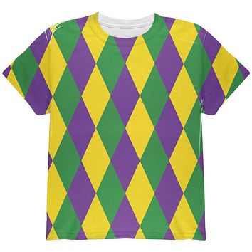 Mardi Gras Jester Costume All Over Youth T Shirt