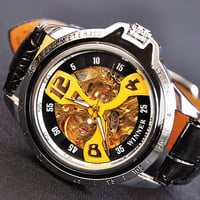 Man Watch Steampunk Mechanical Watch Yellow (WAT0082-Yellow)