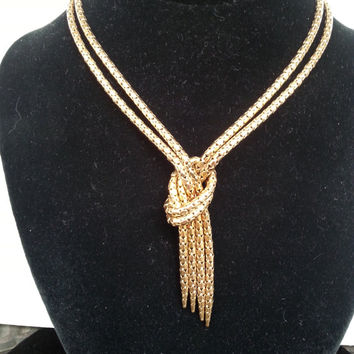 Vintage Signed BIGNEY 1/20 12K GF Gold Filled Double Snake Chain Knotted Victorian Necklace, Art Deco 1930's 1940's Jewelry