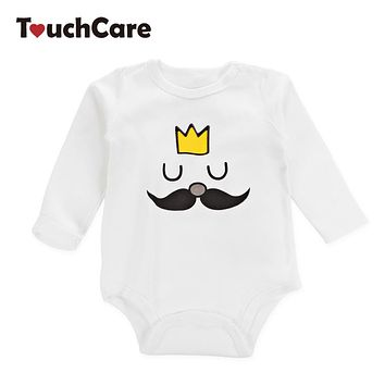 Newborn Cartoon Mustache King Printed Baby Boys Girls Rompers Infant Soft Cotton Kids Jumpsuit Long Sleeve Toddler Clothes