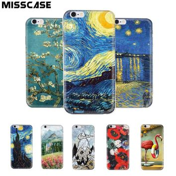 MISSCASE Phone Case for iphone X 7 6 6s 8 Plus Soft Silicone Van Gogh Star print Cover Fitted Case for iPhone 5 5S SE X 6 7 Case