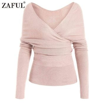 ZAFUL Surplice Purple Sweater Casual Pullover Women Wrap Long Sleeve Jumper 2018 Spring Fall New V Neck Basic Brief Sweaters