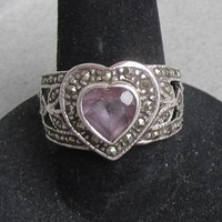 Pretty Vintage 1980's Sterling Silver, Marcasite & Heart Shaped AMETHYST Open Work Ring, Size 7