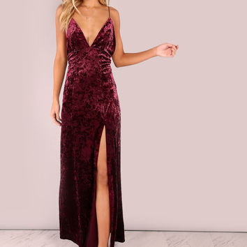 Backless Cross Back Cord Strap Crushed Velvet Maxi Dress BURGUNDY | MakeMeChic.COM