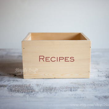 Wooden recipe box natural recipe box large recipe box rustic unfinished recipe box bridal shower recipe box recipe organizer recipe card box