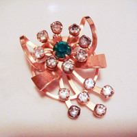 Vintage Gold Emerald Ribbon Brooch with Rhinestones