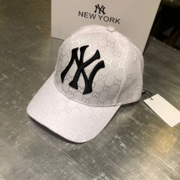 White GUCCI Woman Embroidered Sport Baseball Hat Cap