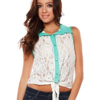 Papaya Clothing Online :: TIE-FRONT LACE TOP