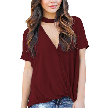 Burgundy Choker Neck V Cut Drape Loose Fit Top