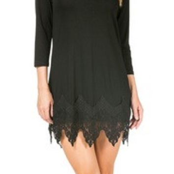 Basic Long Sleeve Knit Dress/Tunic/Cami with Lace Bottom