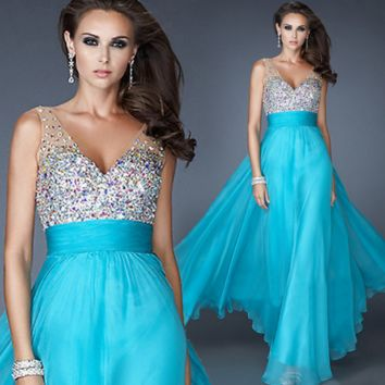 New fashion evening dress chiffon dance bride married toast bridesmaid presided over the banquet section