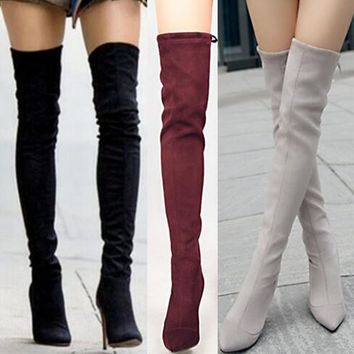 Sweet Female 5802 Quality upgrading Women Stilettos Over the Knee Thigh High Boots Pointy Toe High Heel Stretch Long Boots lady