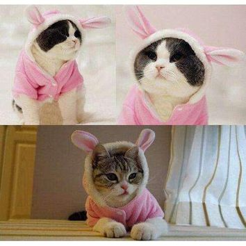 Cute Pet Dog Cat Bunny Clothes Soft Plush Warm Winter Dog Hoodie Warm Clothes Autumn Winter Puppy Costume Apparel