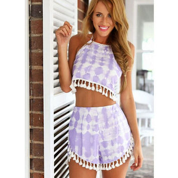 Summer Tassels Print Casual Sexy Vest Shorts Ladies Set [4966227652]