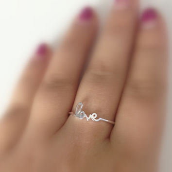 Love Ring Cursive Sterling Silver or Gold Beautiful Bridesmaid Gift