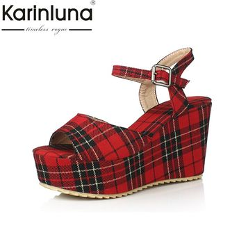KARINLUNA 2017 Scotticize Check Gingham Big Size 33-45 Platform Women Shoes Vintage Wedges High Heels Dating Sandals Plaid
