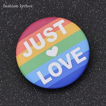 PIN BUTTON LGBT Gay Pride Anti Discrimination Brooch Just Love Rainbow Heart