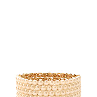 FOREVER 21 Layered Chain Bracelet Cream/Gold One