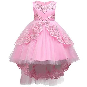 Girls Clothes Pearl Embroidery high grade Wedding dress Children Christmas Clothing Kids Party Dress baby Girls Princess dress