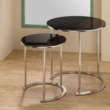 Set of 2 Round black glass top and chrome finish metal frame nesting table set