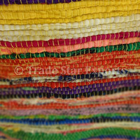 Reversible Rag Rug, Yellow Color Theme, Hand Loomed Yoga Mat, Chindi Durrie, Made from Old Sari Fabric, Multi Color Throw, Floor Mat