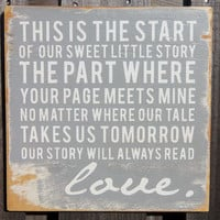 Typography Wood Sign- - Our Sweet Little Story Wall Decor